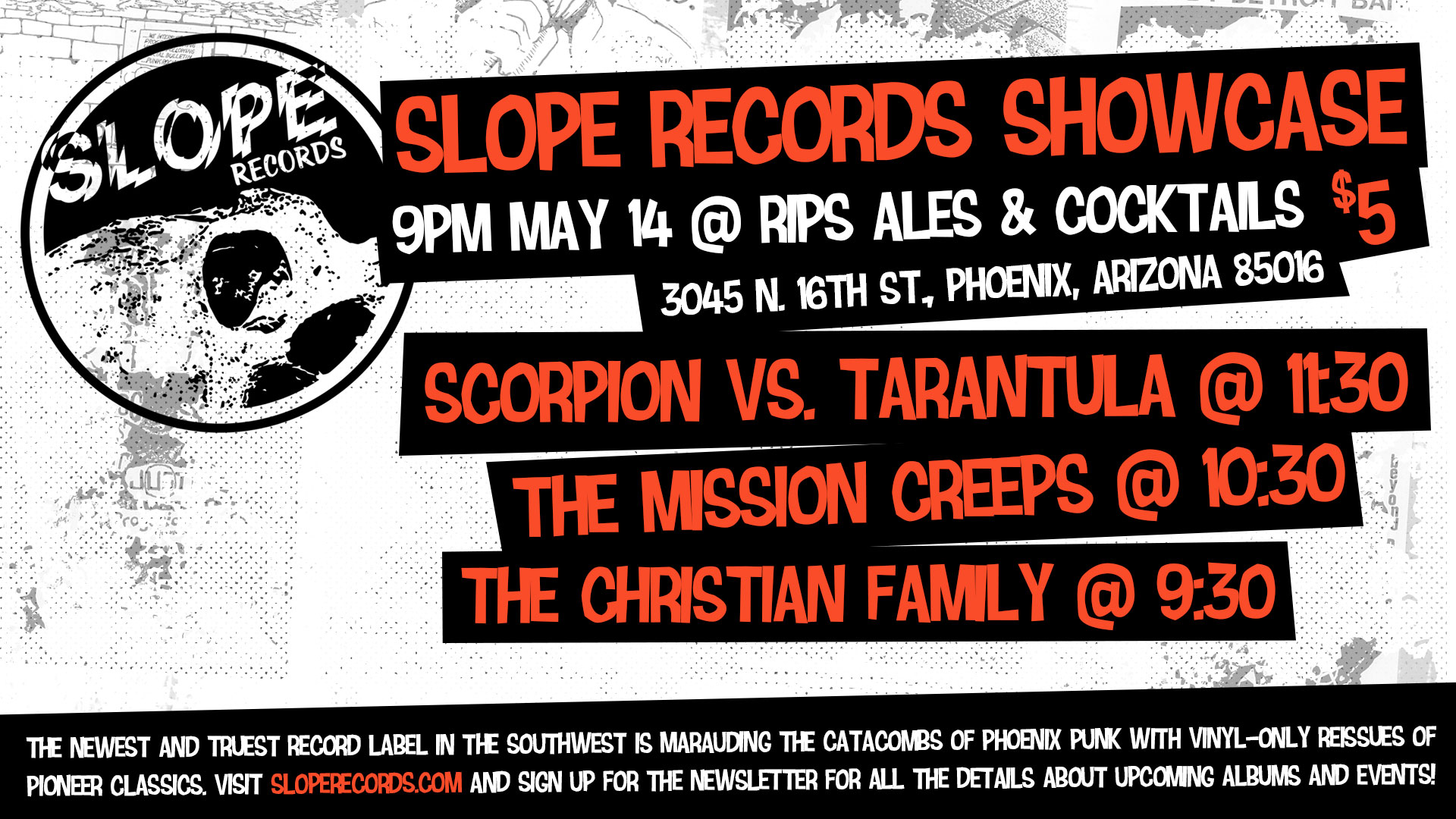 Slope Records Showcase May 15th at Rips Ales and Cocktails